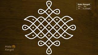 Sikku Kolam with 7x1 dots | Melika Muggulu | Chukkala Muggulu