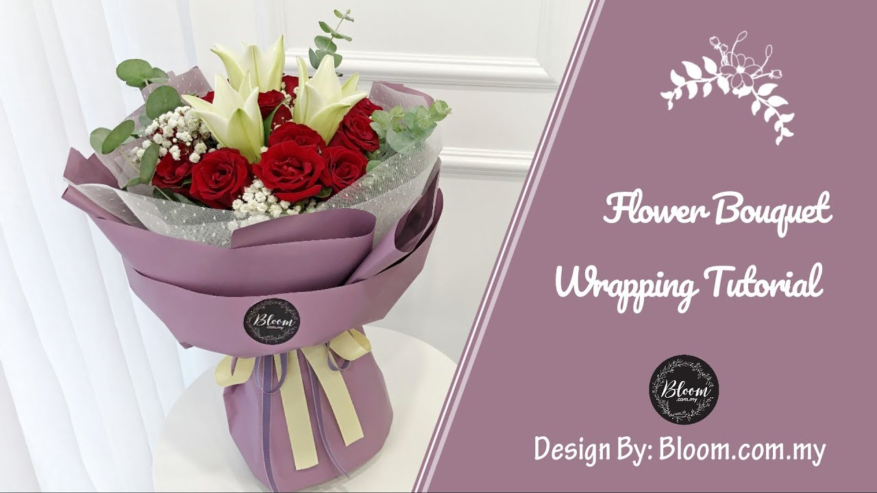 Flower Bouquet Wrapping Tutorial Round Design Wrapping Idea Technique Youtube