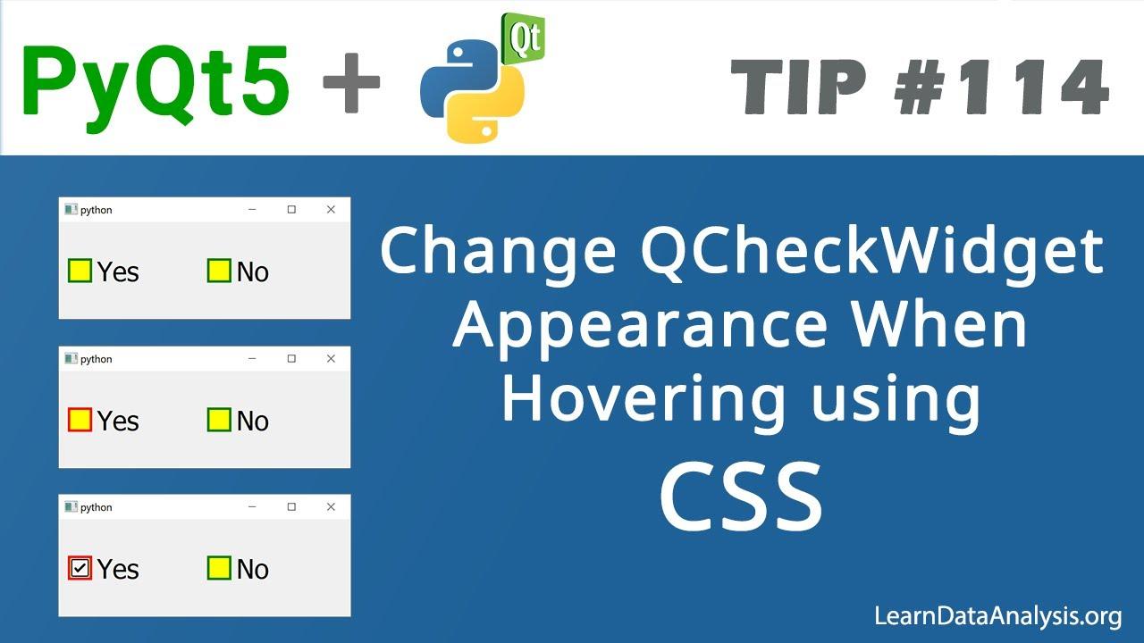Update QCheckBox Widget Visual Properties When Hovering in PyQt5