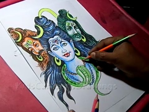 How To Draw Lord Shiva With 3 Heads Color Drawing Youtube