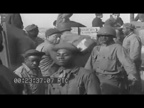 "CBs Assemble ""Rhino Pontoon,"" Load LCM, Plymouth, England, 3/24/1944 (full)"