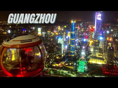 Guangzhou City China at Night by Drone - Guangzhou China Dro