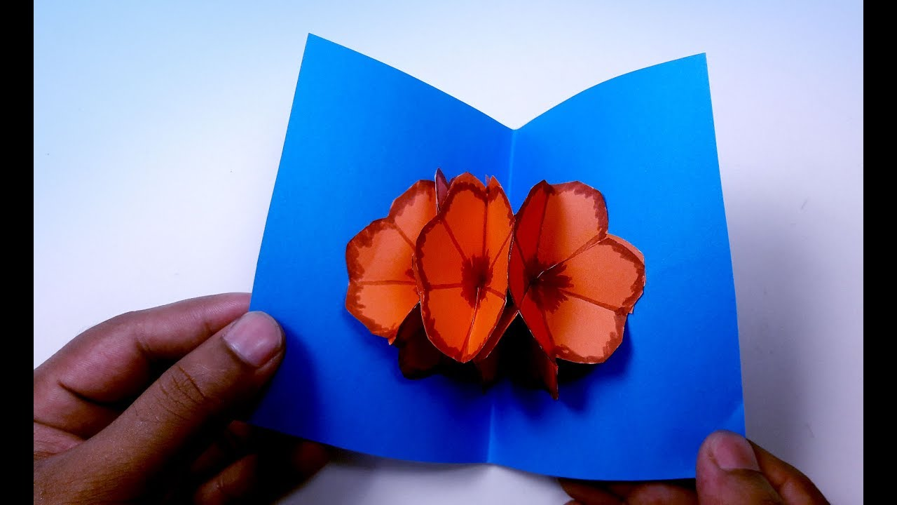 Diy Flower Pop Up Card Pop Up Flower Card Tutorial Pop Up Card