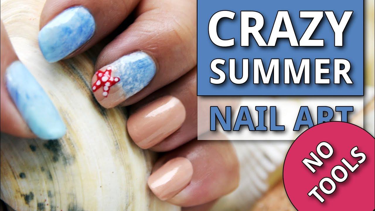 No Tools Crazy Summer Nail Art Tutorial Youtube