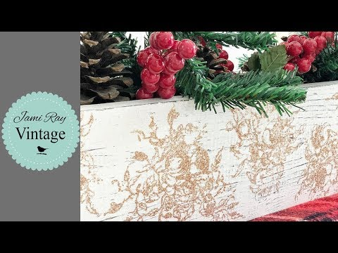 How To Stamp With Glitter   Christmas Centerpiece   Dollar Tree