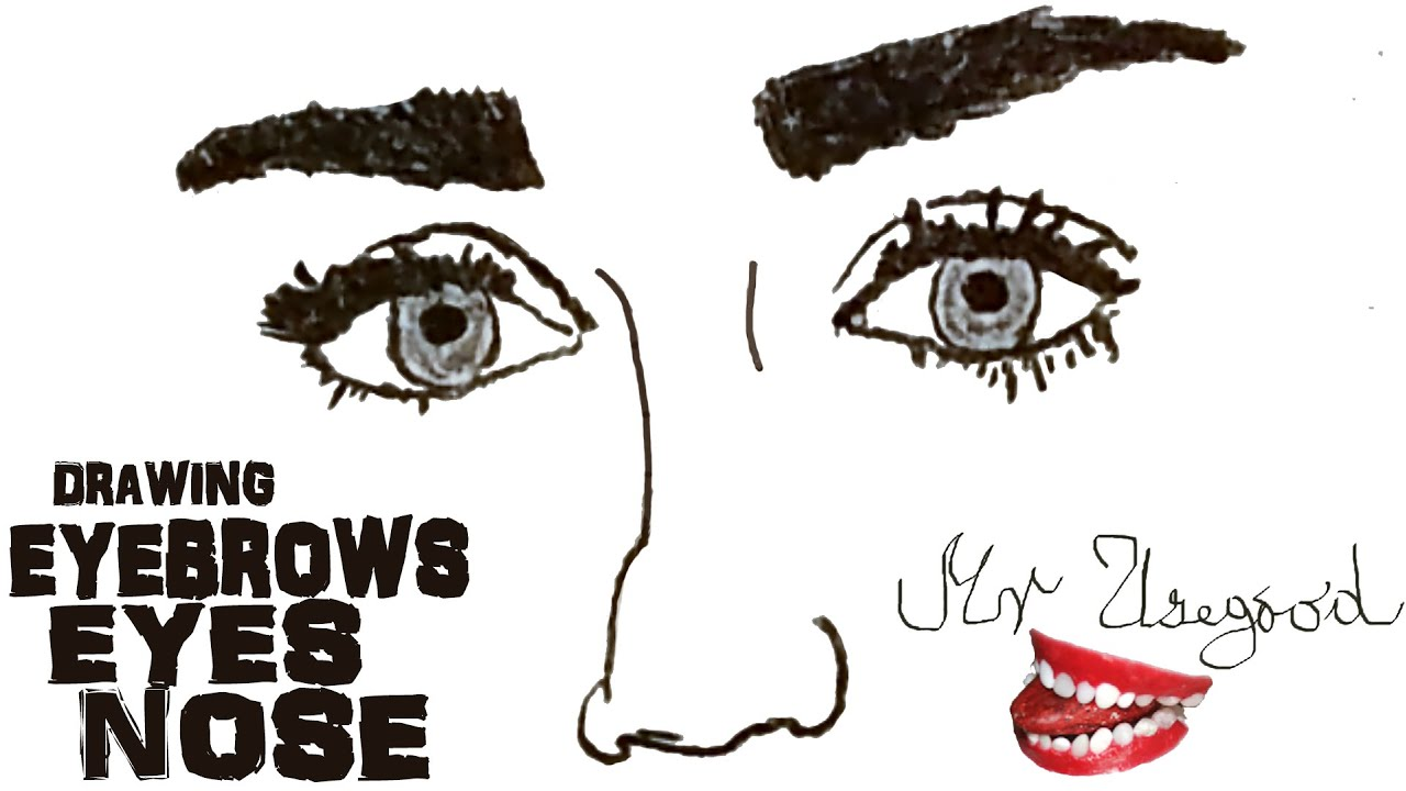 How To Draw Realistic Female Eyes And Nose And Eyebrows Step By Step Easy  And Shade  3d Drawing