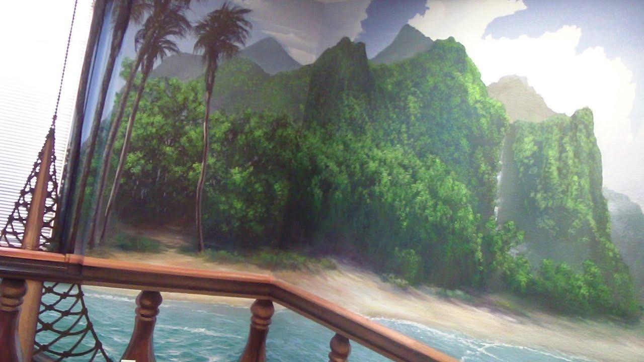 Pirate ship mural pt 2 youtube for Mural joe painting