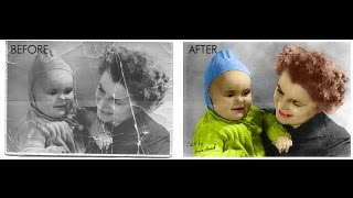 How to Repair an Old Torn Photo in Photoshop | Photoshop Tutorial Spreed Art