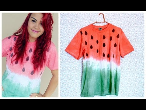 Diy t shirt de melancia com tie dye youtube for Making a tie dye shirt