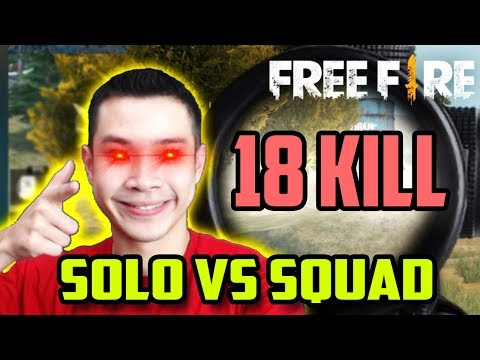 JESS NO LIMIT + FREE FIRE = 18 KILL SOLO VS SQUAD!! GARENA BERCANDA??