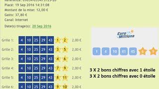 Comment gagner à l'EuroMillions? (GAINS DU 20 SEPTEMBRE) 37.80 Euros
