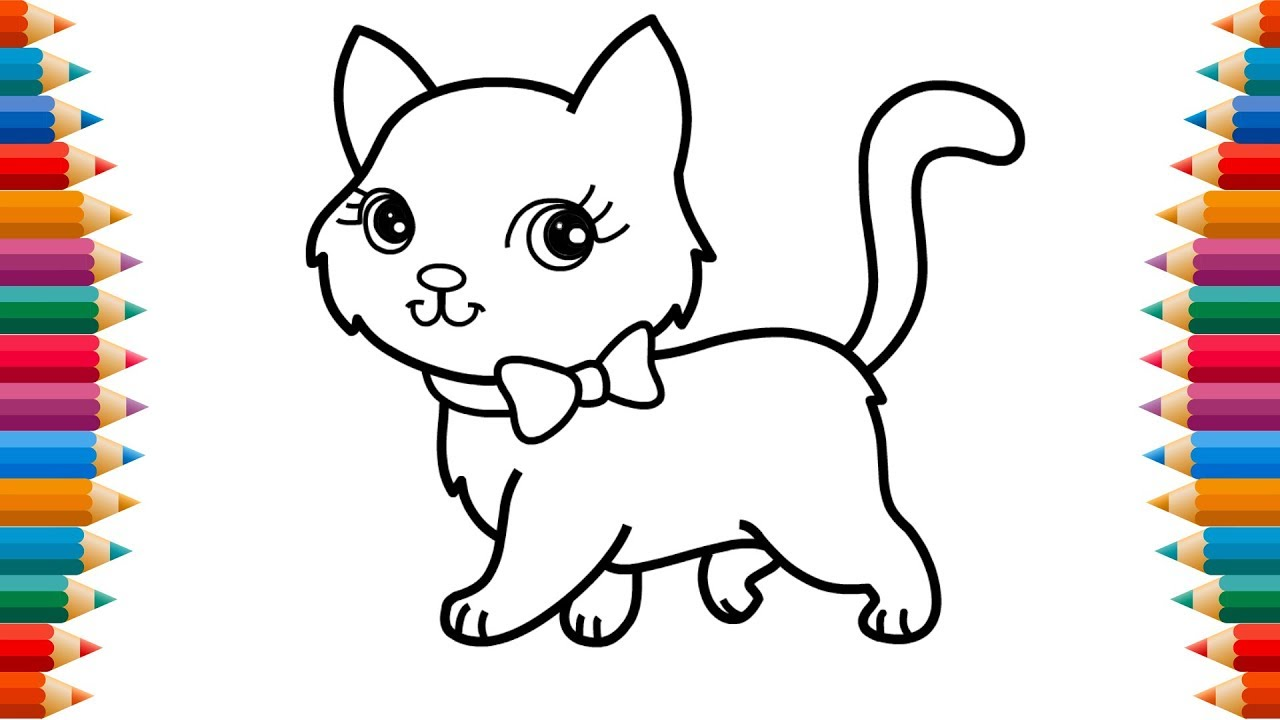 How to Draw Cat Coloring Pages-Learn Color with Cat ...