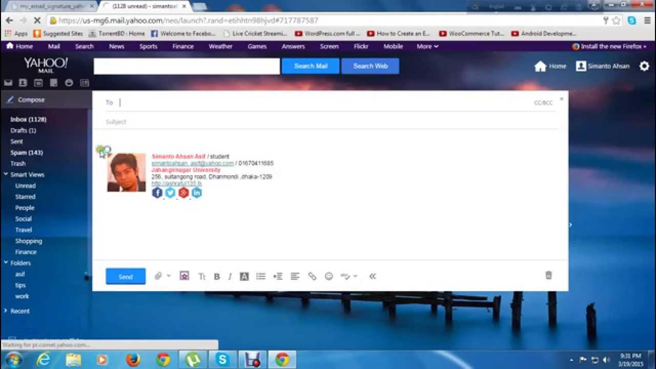 How to set up signature in yahoo mail