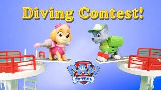 PAW PATROL Nickelodeon Paw Patrol Diving Contest a Paw Patrol Toy Video Parody