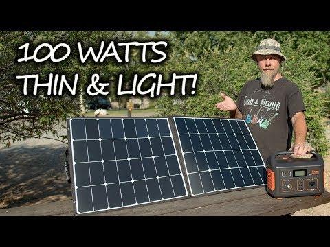SolarSaga 100 Review! Jackery's New Lightweight Ultra Portable 100 Watt Solar Panel