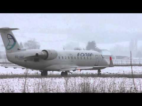 Canadair CRJ200LR take off at Airport Bern-Belp
