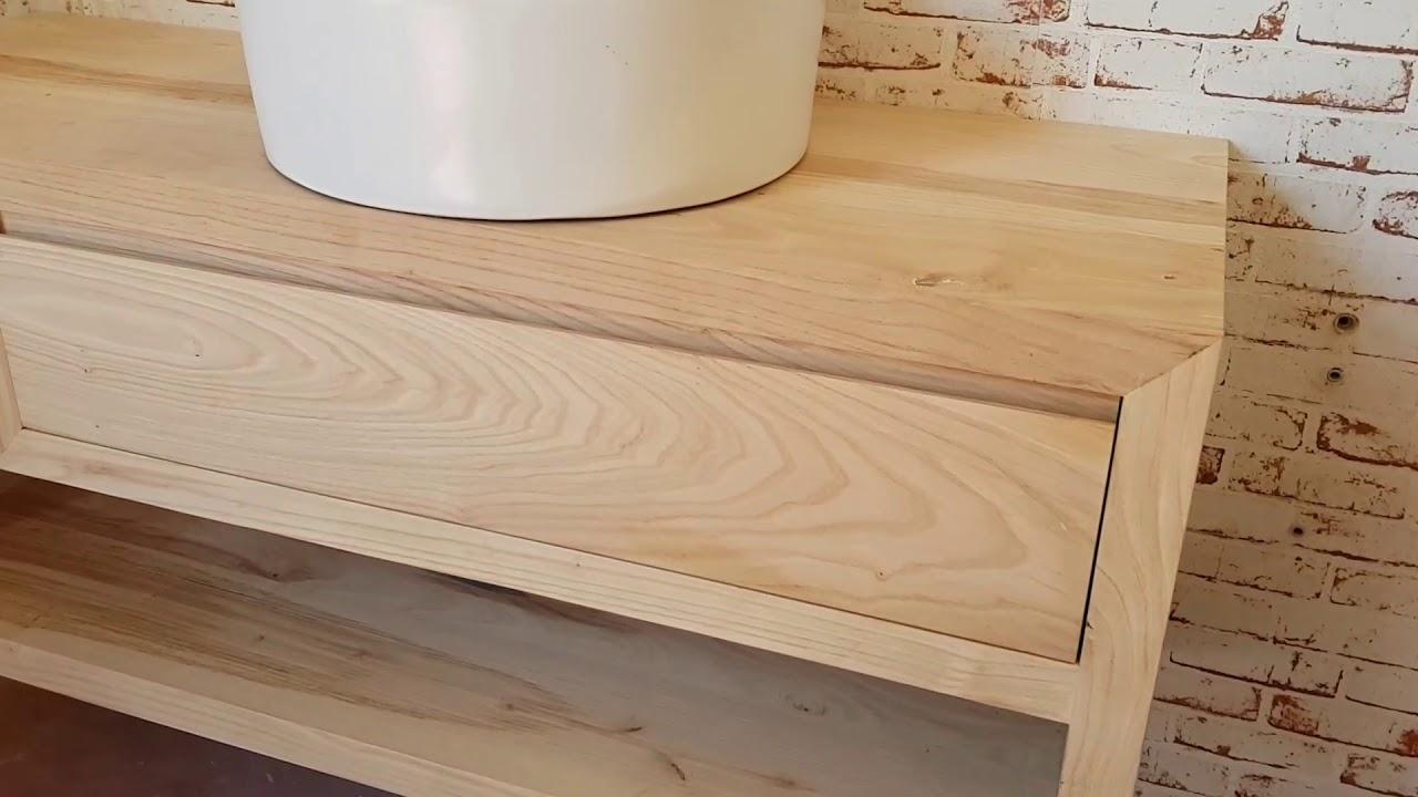 Mobile da bagno minimal modello ollie in legno massello for Mobile bagno minimal