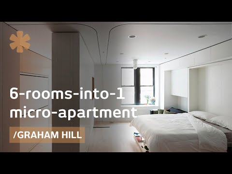 6 rooms into 1 morphing apartment packs 1100 sq ft into for One big room apartment