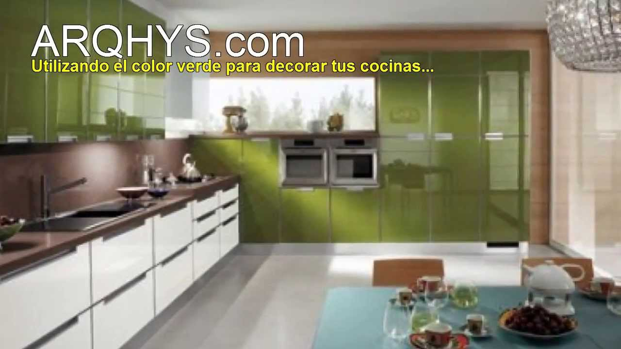 Cocinas de color verde youtube for Colores para cocina