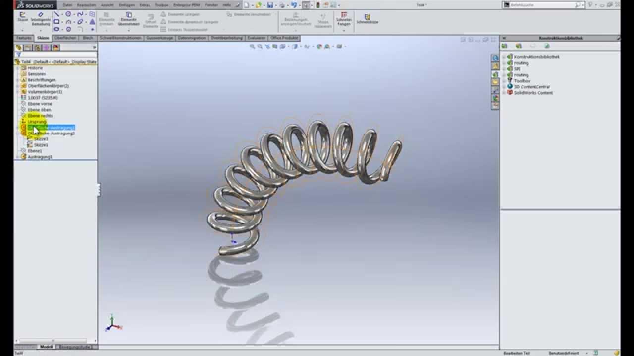 Solidworks Tipp Erstellen Einer Gebogenen Spirale Mit Komplexen