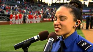 "Nikki Njoi sings ""The National Anthem"" at Cififield for the NY Mets! 04/21/14"