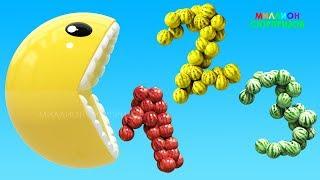 Учим цвета с 3D Pacman | Учим цифры от 1 до 20| 3D Цифры Арбузы | Учим цвета с 3Д Пакманом для детей