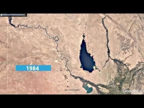 ترقبوا جبل الذهب  نضوب بحيرات الفرات في خرائط جوجل ايرث .. من 1984 الى عام 2016 بنسب مهمه .