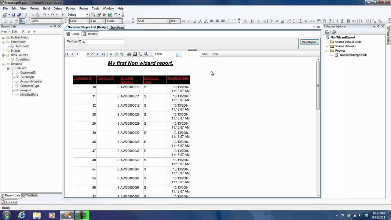 how to create ssrs report