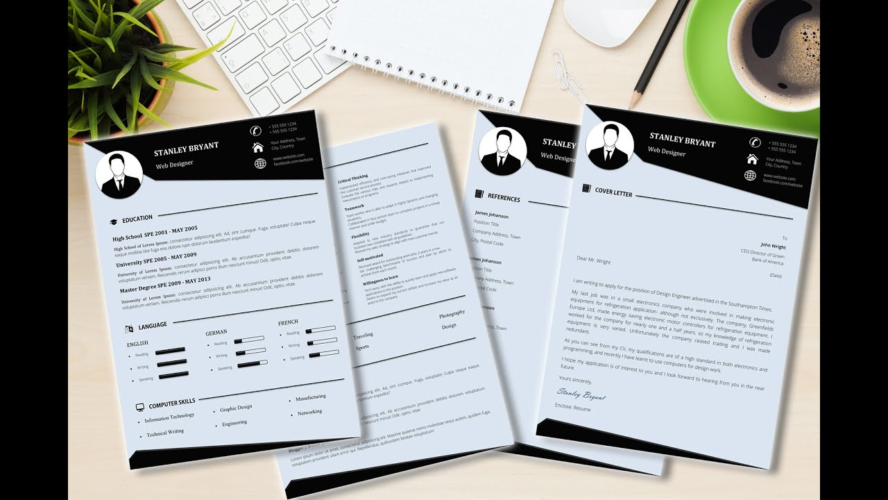 Modern cv resume template made in microsoft word youtube yelopaper Image collections