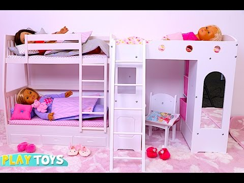 Thumbnail: Baby Doll Bunk Bed bedroom house toy play doll wardrobe closet and dress up dolls