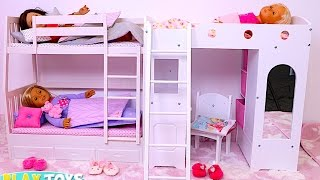 Baby Doll Bunk Bed Bedroom House Toy!  Play Doll Wardrobe Closet and Dress up Dolls! thumbnail