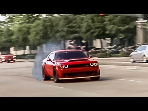 Challenger DEMON Gets SIDEWAYS Leaving Cars and Coffee! - Houston Cars and Coffee September 2018