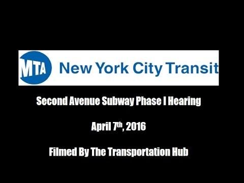 MTA New York City Subway: Second Avenue Subway Phase I Hearing
