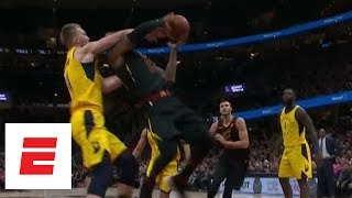 Domantas Sabonis gets flagrant foul for big contact on LeBron James during Game 2   ESPN