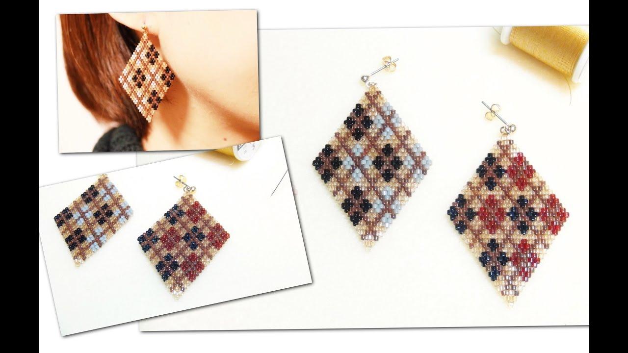 ひし形ビーズピアスの作り方(アーガイル柄) 11/0 Delica beads DIY