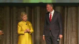 Hillary Clinton appears alongside Bill de Blasio in racially charged sketch