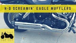 h d screamin eagle street performance staggered dual mufflers fat bob mod 7