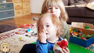 Cute Kid GLORIA Daily VLOG DAY 1 - FUNNY BABY Makes CHAOS with Brothers TOYS at HOME