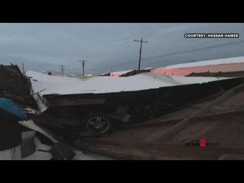 Cars Crushed By Heavy Snow At Greensboro Warehouse After Building Collapse