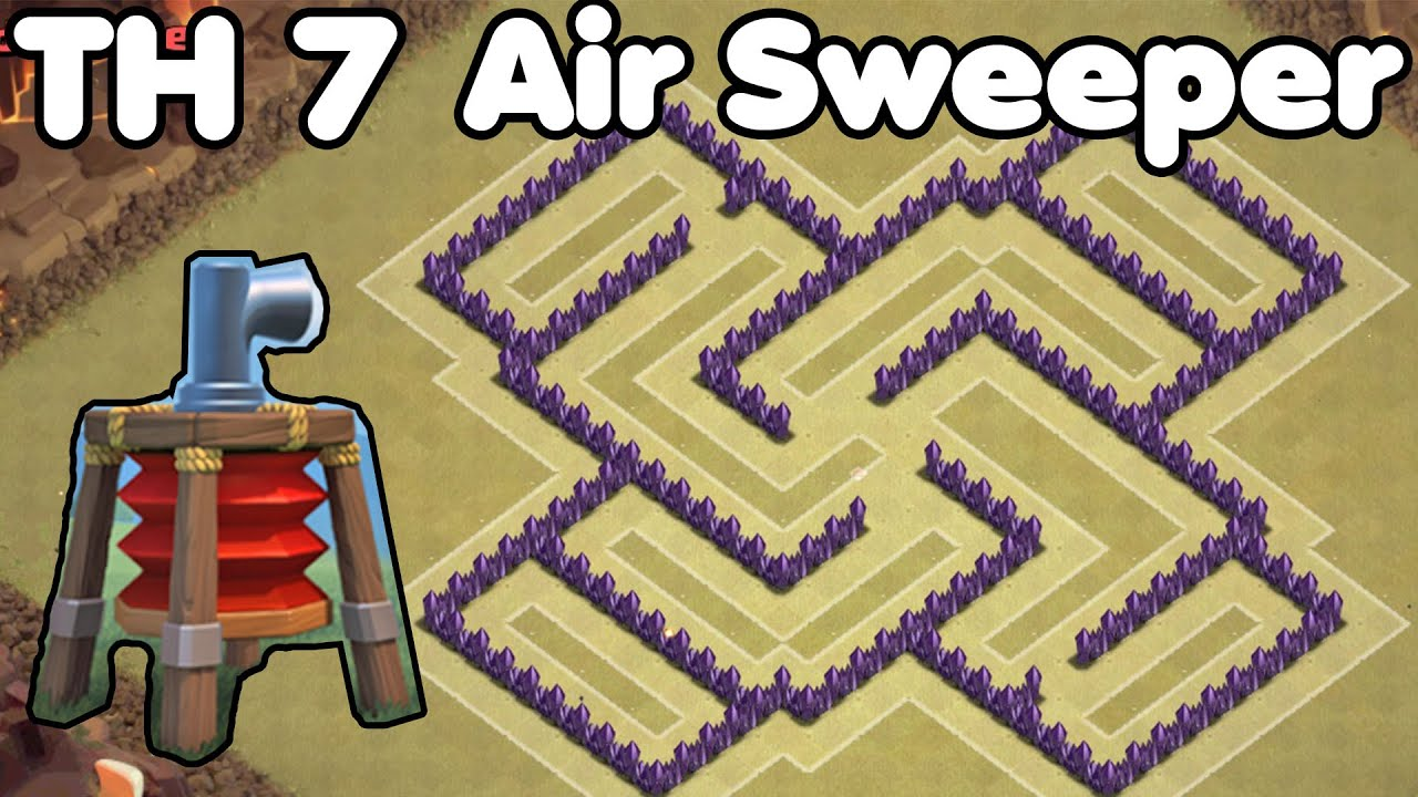 With air sweeper coc th7 trophy base amp war base defense youtube