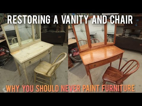 Furniture Restoration And Refinishing Of A Three Mirror Vanity And Chair | Makeover Flip