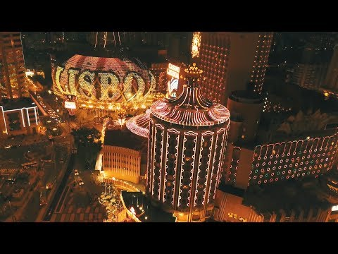 Macau night view drone footage in 4K