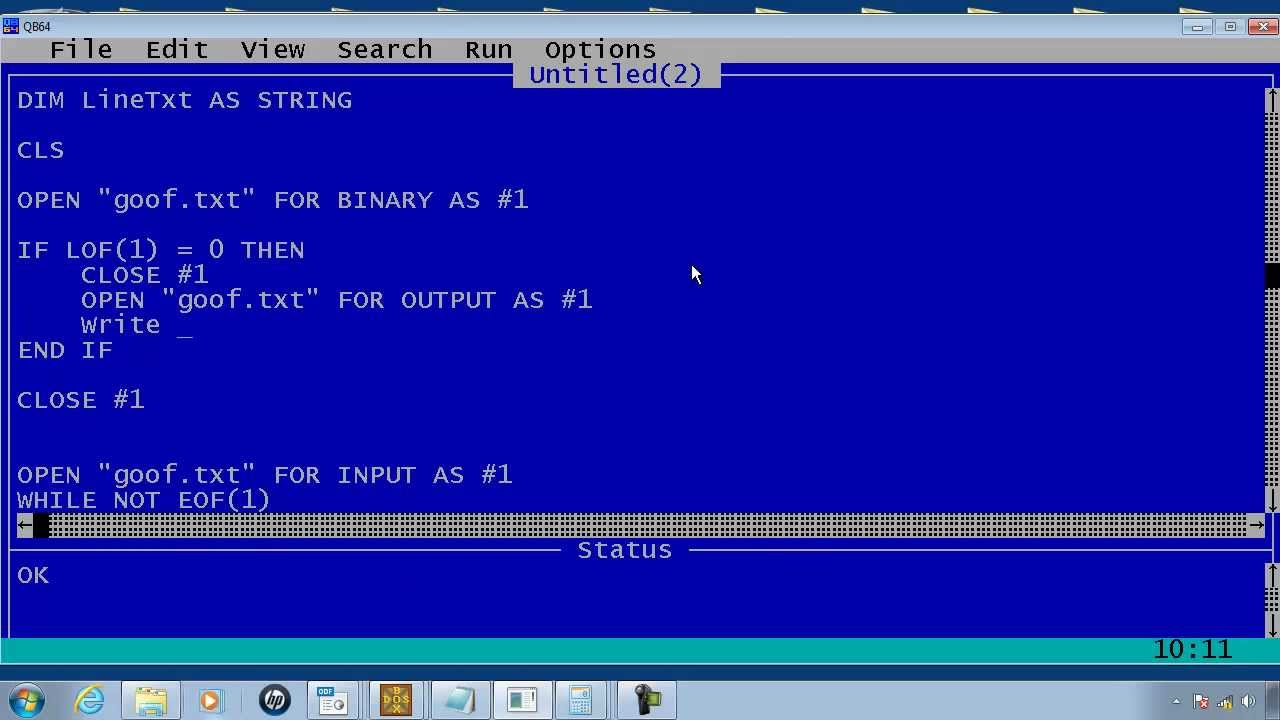 QBasic Tutorial 40 - Text Files Part 2 - Checking If The File Exists - QB64
