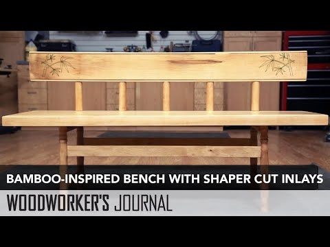 Bamboo Inspired Bench Featuring Inlays Carved with the Shaper Origin