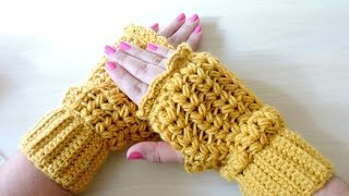Repeat youtube video Mitones de Ganchillo - Crochet Mittens - Tutorial paso a paso