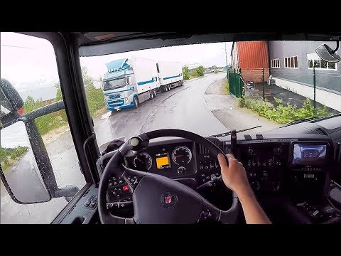 Awesome & Relaxing, rainy, Scania G450 + Trailer driving (POV, headmount)