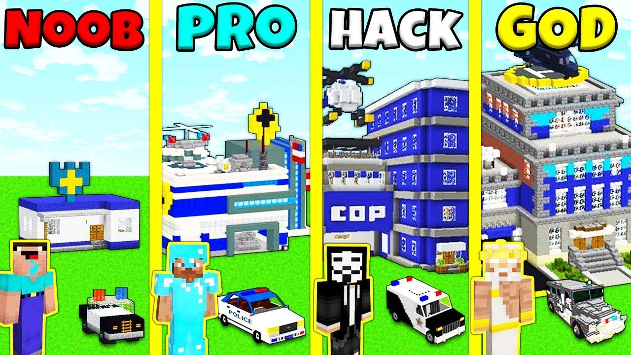 Download Minecraft Battle: NOOB vs PRO vs HACKER vs GOD: POLICE STATION HOUSE BUILD CHALLENGE / Animation