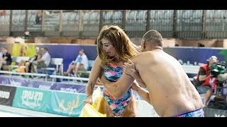 Geoff Huegill pushes Ada Nicodemou in the pool Gold Coast