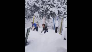 Nederland Residents Jump on Trampoline Buried Under Snow