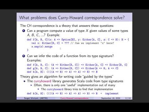 Explaining The Curry-Howard Correspondence For Practical Programmers. With Code Examples In Scala